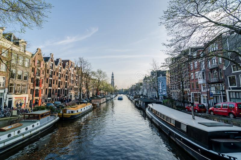 Beautiful view of the Amsterdam`s canal royalty free stock image