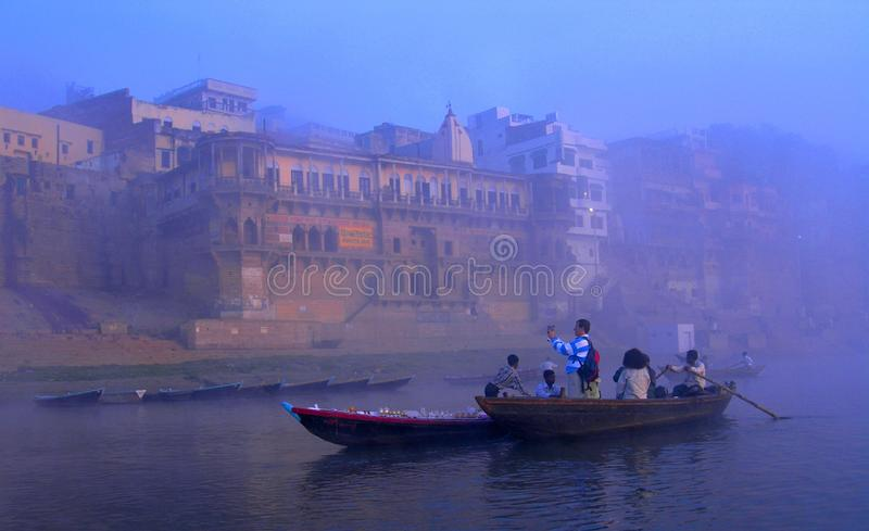 A BEAUTIFUL VIEW OF AN ANCIENT CITY - VARANASI, INDIA royalty free stock images