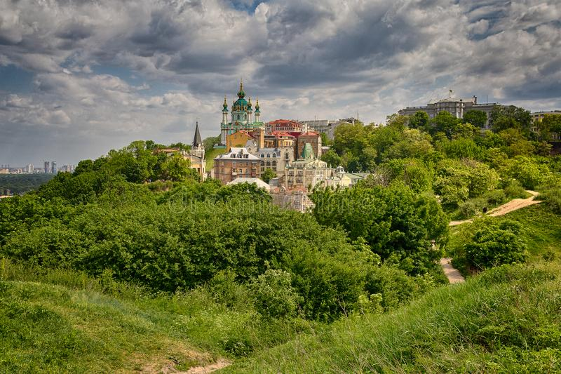 Beautiful view of the ancient street Andrew`s Descent and the St. Andrew`s Church. Kiev. Ukraine royalty free stock photos
