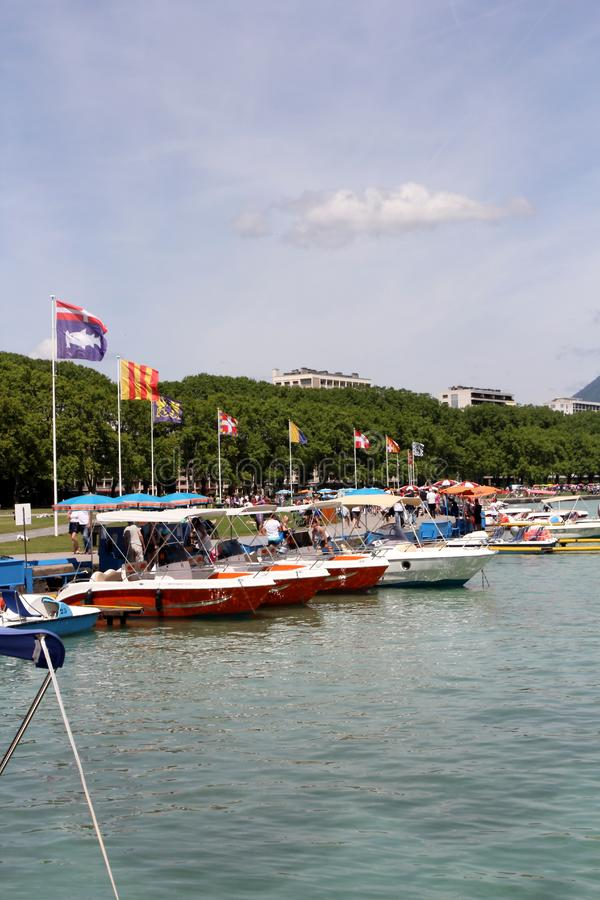 Annecy lake. Beautiful view of the Annecy Lake in French Alps. Annecy is the largest city of Haute-Savoie department in the Auvergne-Rhône-Alpes region in royalty free stock photos