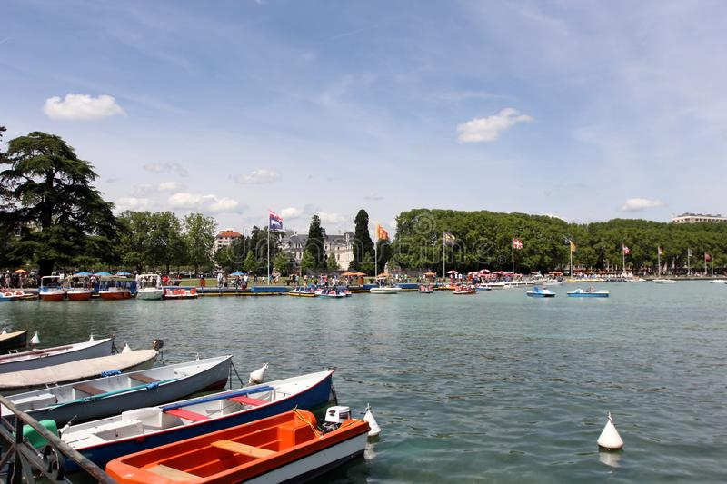 Annecy lake. Beautiful view of the Annecy Lake in French Alps. Annecy is the largest city of Haute-Savoie department in the Auvergne-Rhône-Alpes region in stock images