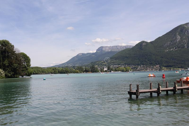 Annecy Lake in French Alps royalty free stock photography
