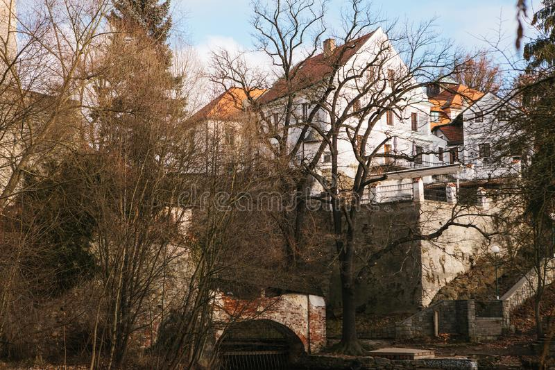 Beautiful view of architecture and trees in Cesky Krumlov in the Czech Republic royalty free stock photo