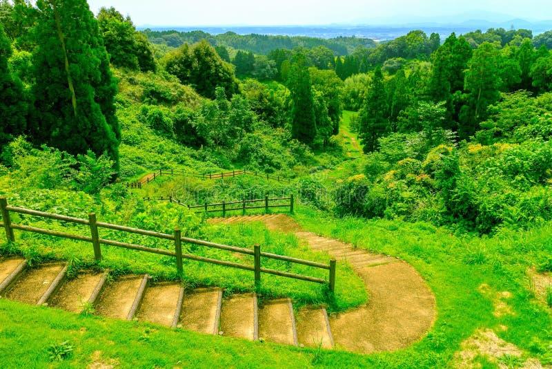 Beautiful view from around kikuchi castle. Green view in nice weather from around Kikuchi in Kumamoto prefecture, Japan stock image