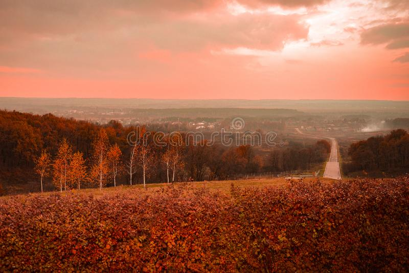 Autumn sunset on the mountain royalty free stock images
