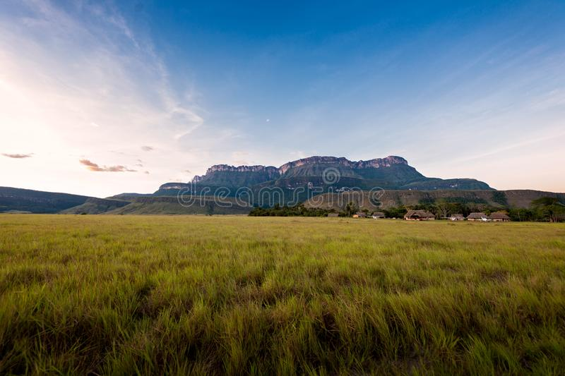 Beautiful view of the Auyantepuy. Canaima Natinal Park, Venezuela- Bolívar State. Auyantepuy is the biggest Tepuy in La Gran Sabana. It is well known royalty free stock images