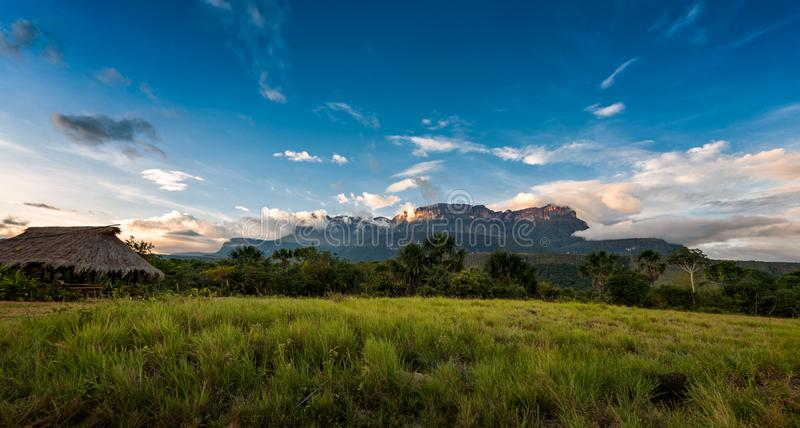 Beautiful view of the Auyantepuy. Canaima Natinal Park, Venezuela- Bolívar State. Auyantepuy is the biggest Tepuy in La Gran Sabana. It is well known royalty free stock image