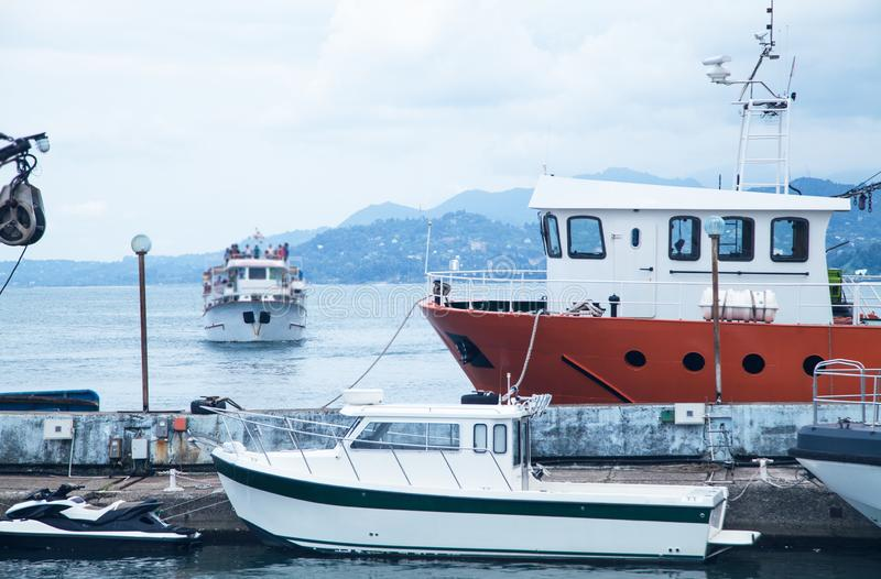 Beautiful view. Batumi, Georgia 2018. Boats with sea royalty free stock photos
