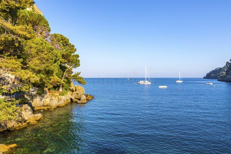 Beautiful view of the Bay of Paraggi in Santa Margherita Ligure, Italy stock photos