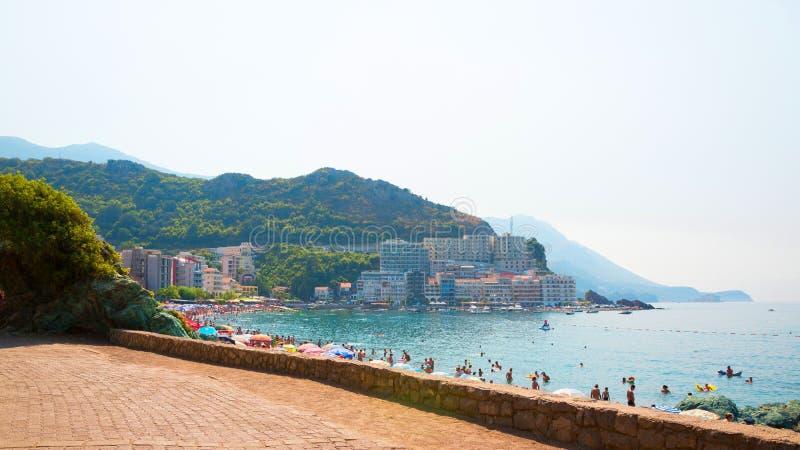 Beautiful View on beach in Rafailovici on the Budva Riviera stock image
