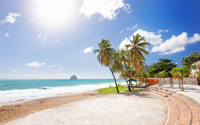 Le Diamant Beach. Beautiful View and Beach Scene in Martinique, Carribean royalty free stock image