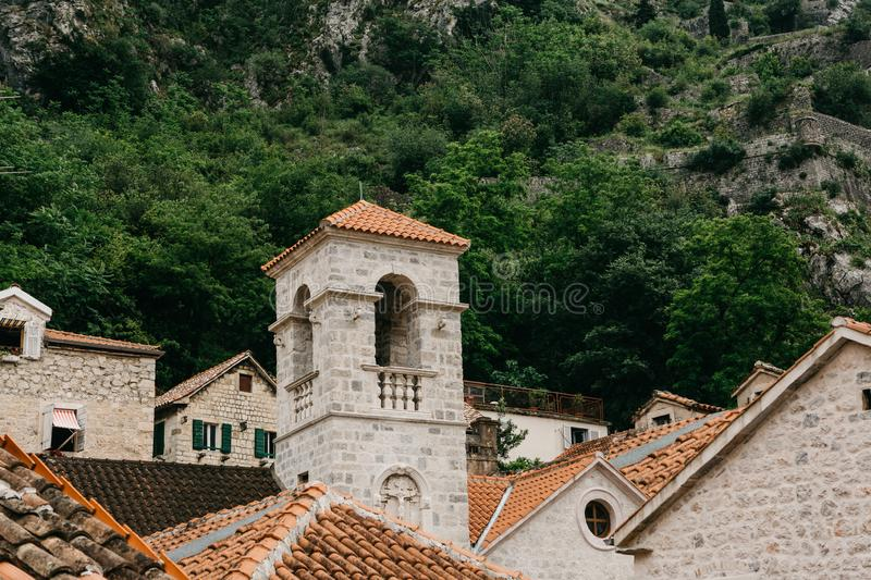 Beautiful view of the bell tower of the Orthodox Church in Kotor in Montenegro. stock photography