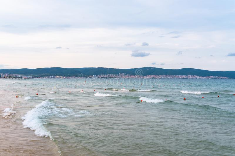 Beautiful view of the Black Sea with small waves in Sunny Beach in Bulgaria. Beautiful view of the Black Sea with small waves in Sunny Beach in Bulgaria royalty free stock image