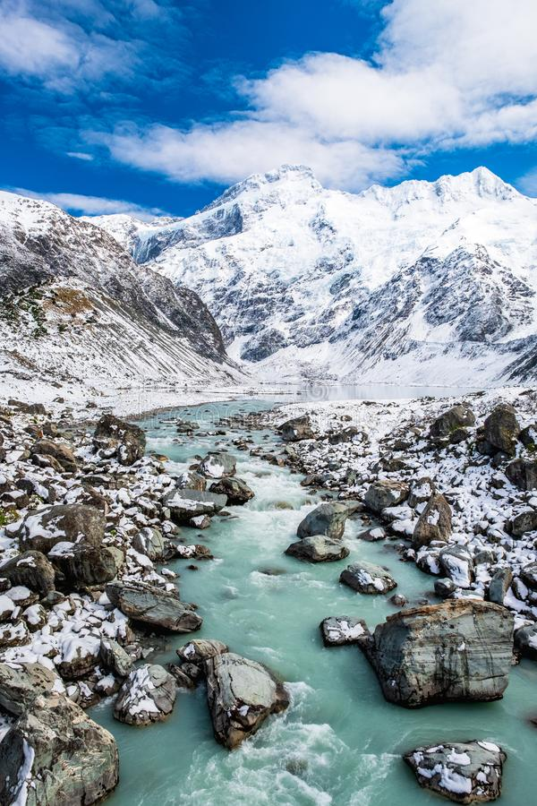 Beautiful view of the blue turquoise river in Hooker Valley track. Mount Cook National Park. I stock photo