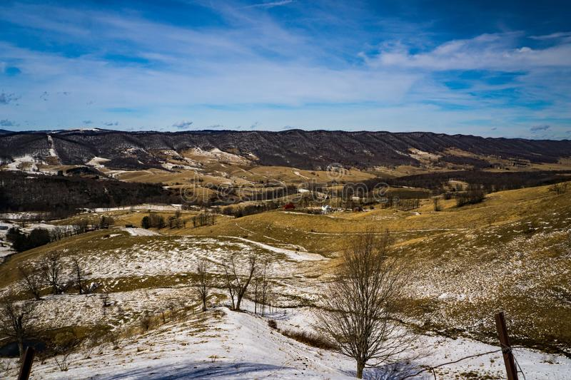 Beautiful Winter View of Bluegrass Valley. A beautiful view of Bluegrass Valley and Lantz Mountain located in Highland County, Virginia, USA stock photography