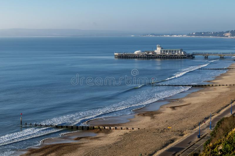 Beautiful view of Bournemouth pier and coastline, England, United Kingdom royalty free stock image