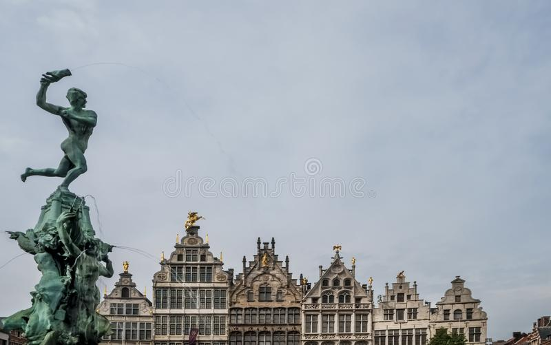 Beautiful view of the Brabo Fountain in the Grote Markt, Antwerp, Belgium stock photo