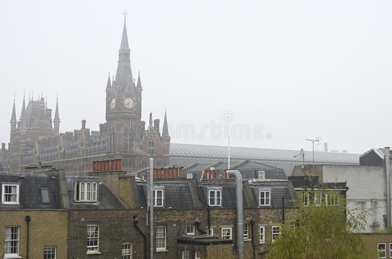 Beautiful view of buildings in London, United Kingdom with  St. Pancras station building. A beautiful view of buildings in London, United Kingdom with  St stock images