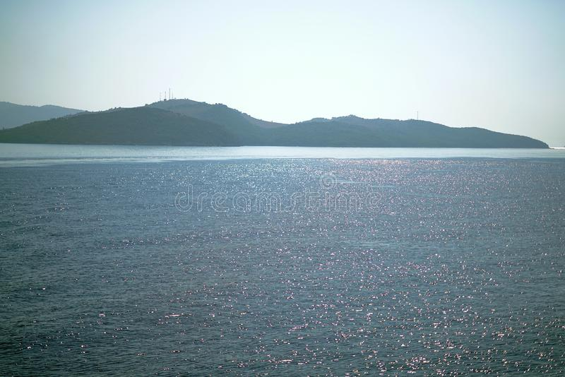 Beautiful view that can be admired at the entrance to the port of Igoumenitsa royalty free stock image