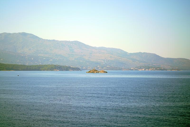 Beautiful view that can be admired at the entrance to the port of Igoumenitsa royalty free stock photography