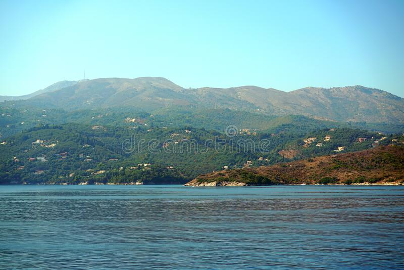 Beautiful view that can be admired at the entrance to the port of Igoumenitsa stock image