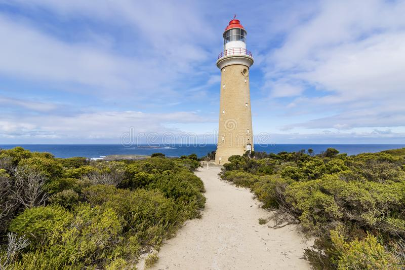 Beautiful view of the Cape du Couedic Lighthouse in South Australia located at Cape du Couedic on Kangaroo Island. stock photos