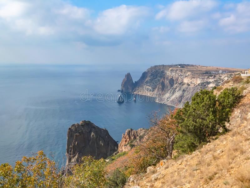 Beautiful view of Cape Fiolent on the Black Sea. Famous place for tourism near Sevastopol in Crimea. Mountains and blue sea stock image