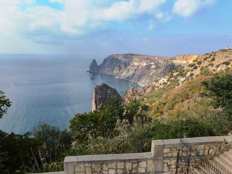 Beautiful view of Cape Fiolent on the Black Sea. Famous place for tourism near Sevastopol in Crimea. Mountains and blue sea royalty free stock photo