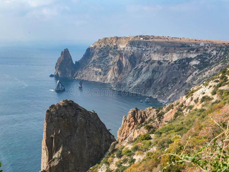 Beautiful view of Cape Fiolent on the Black Sea. Famous place for tourism near Sevastopol in Crimea. Mountains and blue sea royalty free stock photos