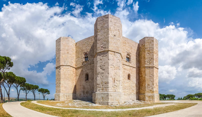 Beautiful view of Castel del Monte, the famous castle built in an octagonal shape by the Holy Roman Emperor Frederick II in. The 13th century in Apulia stock image