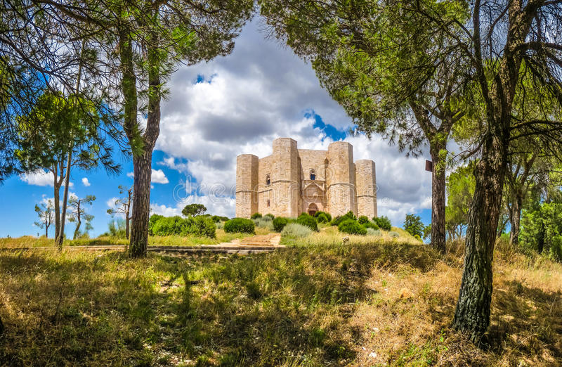 Beautiful view of Castel del Monte, the famous castle built in an octagonal shape by the Holy Roman Emperor Frederick II in. The 13th century in Apulia stock photography
