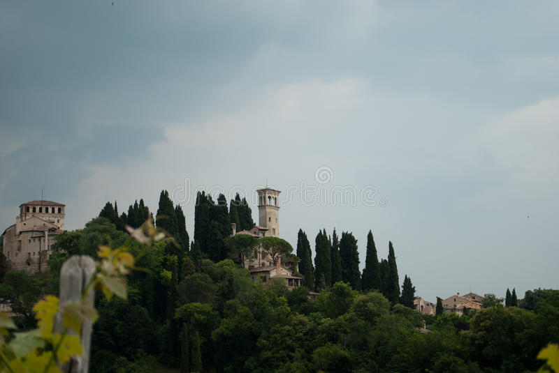 Beautiful view of the castle of Asolo in Treviso royalty free stock images