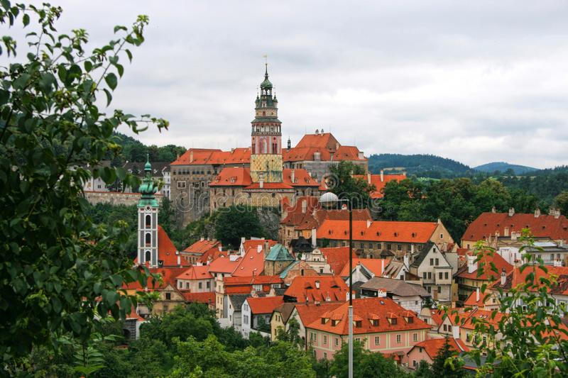 Beautiful view at the Castle Tower of the old bohemian little town Czech Krumlov. Cesky Krumlov, Czech Republic stock photography