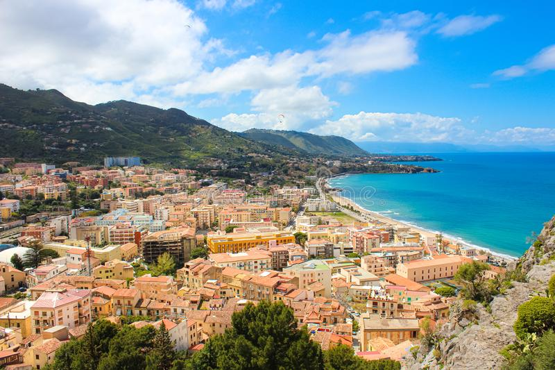 Beautiful view of Cefalu, Sicily, Italy taken from adjacent hills overlooking the bay. The amazing city on the Tyrrhenian coast. Is a popular summer holiday royalty free stock images