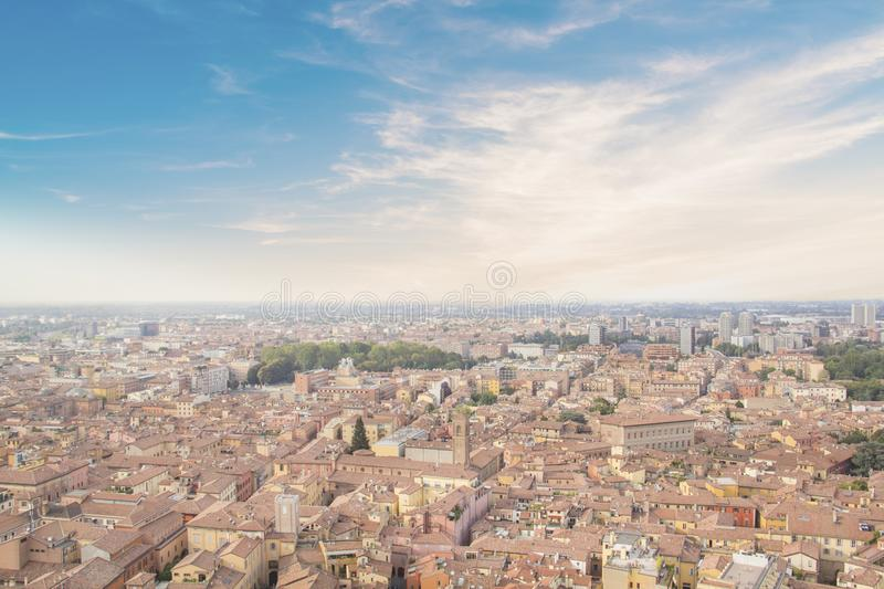 Beautiful view of the center of Bologna, Italy. On a sunny summer day stock photography