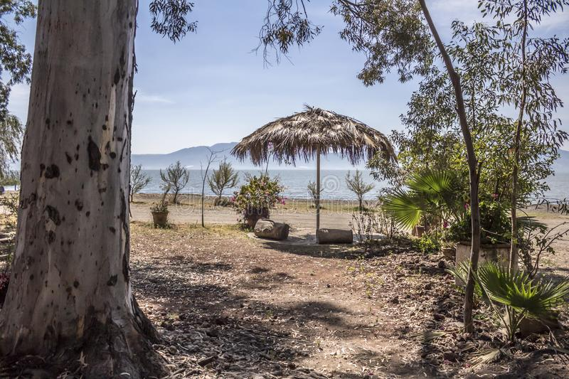 Beautiful view of chapala lake framed with trees and a palm umbrella. On a dirt road and a blue sky background in the state of Jalisco Mexico royalty free stock images