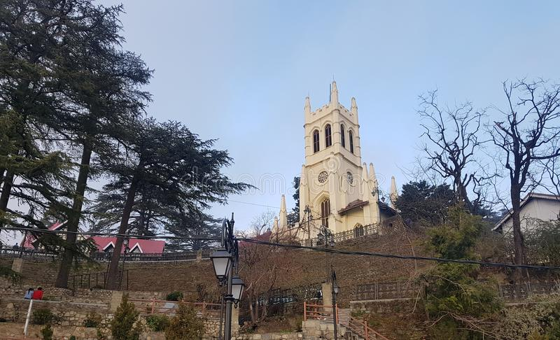 Christ church shimla, himachal pradesh. Beautiful view of Christ Church from Mall road Shimla. It is the second oldest church in North India, after St John`s stock photo
