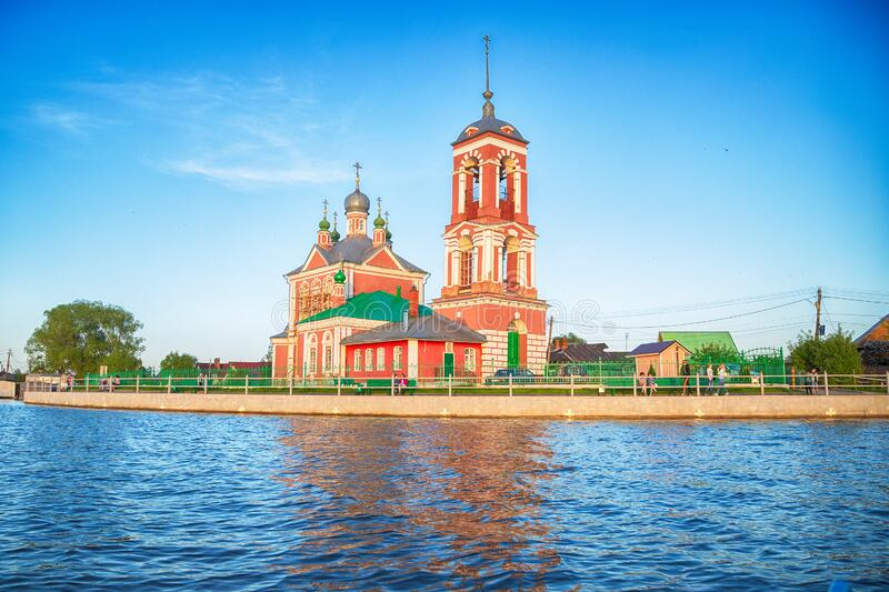 Beautiful view  of the Church of the Forty martyrs of Sebaste in the city of the Golden ring Pereslavl Zalessky. Beautiful view from the water of the Church of royalty free stock images