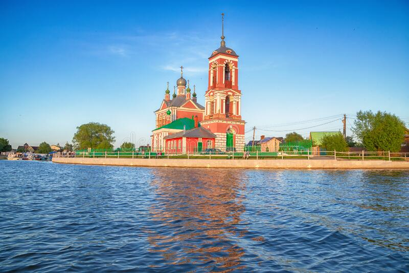 Beautiful view  of the Church of the Forty martyrs of Sebaste in the city of the Golden ring Pereslavl Zalessky. Beautiful view from the water of the Church of royalty free stock image