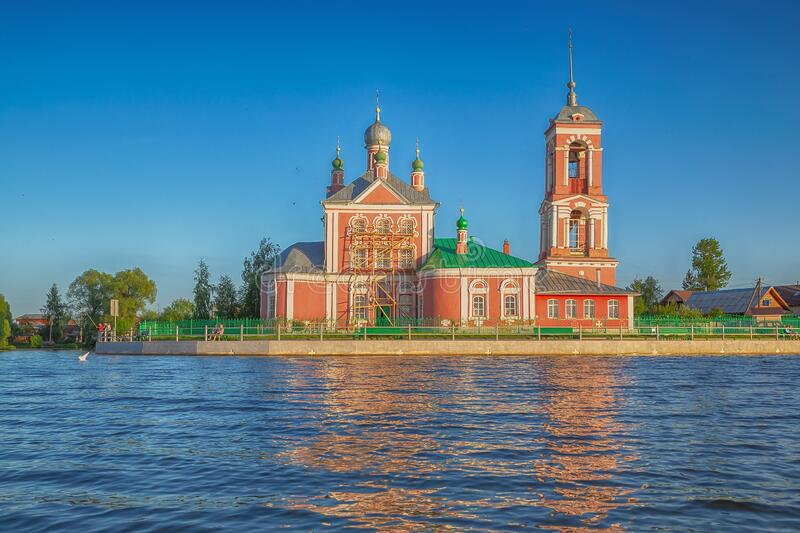 Beautiful view  of the Church of the Forty martyrs of Sebaste in the city of the Golden ring Pereslavl Zalessky. Beautiful view from the water of the Church of stock photo