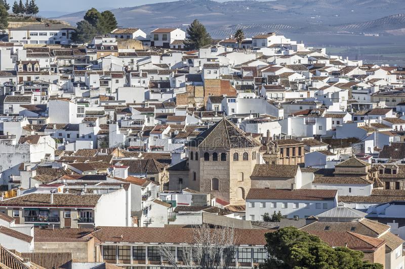 Beautiful view of the city of Antequera with its white houses and tile roofs. Sunny day with a blue sky in the province of Malaga Spain royalty free stock photo