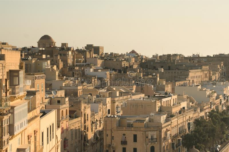 Valletta, Malta, August 2019. View of the roofs and buildings of the old city from the fortress wall. stock images