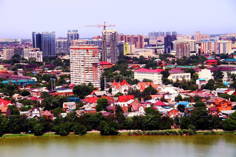 Beautiful view of the city of Krasnodar royalty free stock photo