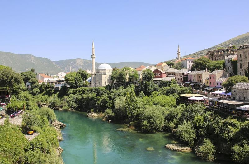 Beautiful view of the city Mostar, Neretva river and old mosques, Bosnia and Herzegovina stock photography