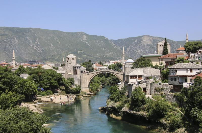 Beautiful view of the city Mostar with Stari Most bridge, Neretva river, Bosnia and Herzegovina.  stock photos