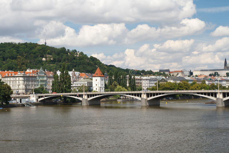 Beautiful view of the City of Prague. Jirasek Bridge over the Vltava river. Czech Republic stock photo