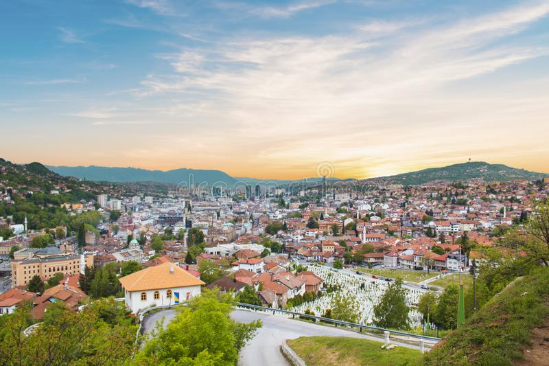 Beautiful view of the city of Sarajevo, Bosnia and Herzegovina. On a sunny day stock photos
