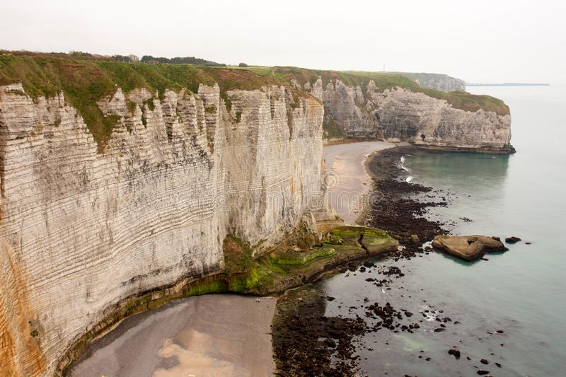 Beautiful view of cliffs of Etretat town royalty free stock photography