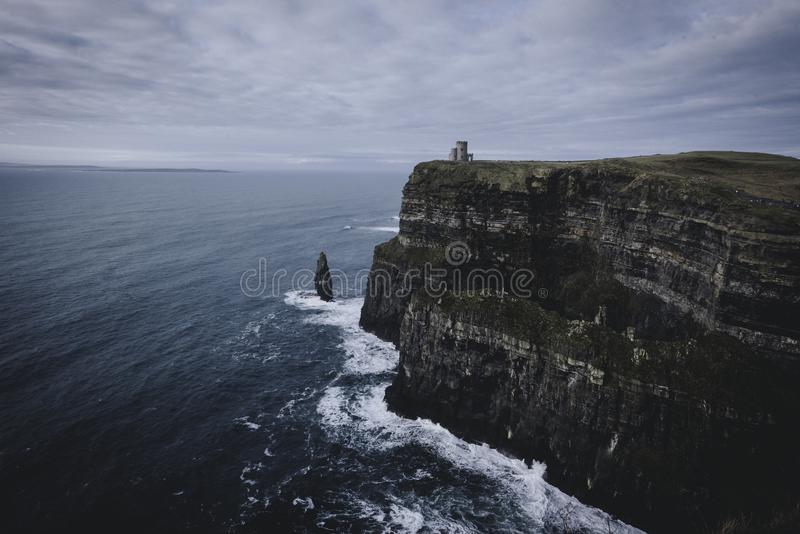 Castle on the Cliffs of Moher stock photos