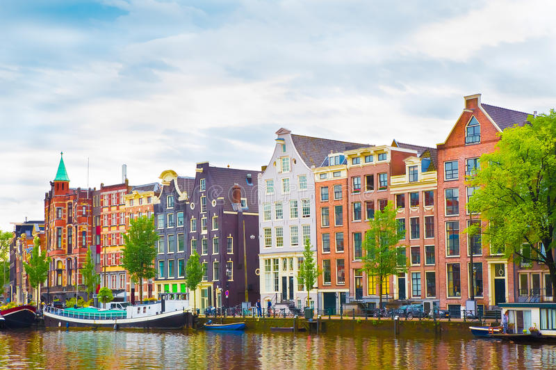 Beautiful view of the Colorful okd facades building in Amsterdam royalty free stock photos